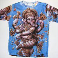 T-Shirt GANESH Baumwolle,Goa Indien Hippie Psy Trance   Gr. L  Blau / 4 *