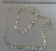 "20"" Sterling Silver 7mm wide Heavy 33gram or 1 ounce Figaro Necklace Chain"