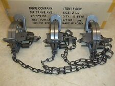 3  Duke # 2 Coil Spring Traps 0490 Coyote Bobcat Fox Lynx Otter Trapping