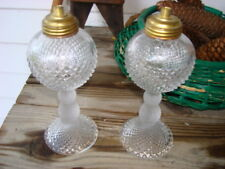 Oil Lamps Pair Glass Oil Lamps Sawtooth Pattern Original Early Lamps  A++