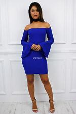 Womens Ladies Glam off Shoulder Bardot Short Sleeve Mini Bodycon Dress UK 14 Blue