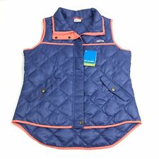 Columbia Women's LARGE Harborside Diamond Quilted Vest Blue / Pink
