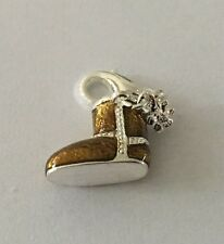 LOVELY BROWN & SILVER BOOT WITH SMALL SNOWFLAKE CLIP ON CHARM - 3D -B - S PLATE