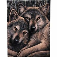 WOLF 'LOYAL COMPANIONS' CANVAS MYTHICAL PLAQUE BY LISA PARKER WALL ART