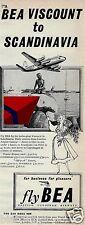 BEA BRITISH EUROPEAN 1955 VISCOUNTS TO SCANDINAVIA-OSLO-STOCKHOLM-COPENHAGEN AD