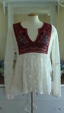 FREE PEOPLE CASABLANCA  Ivory Lace Embroidered Sleeve TOP SZ M