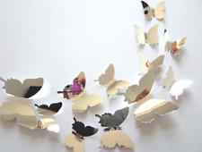 Hot Wall Stickers Decal Butterflies 3D Mirror Wall Art Christmas Home Decor Gift