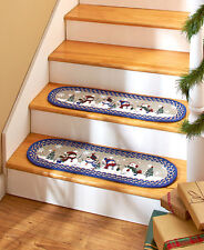 Sets of 2 Snowmen Blue Braided Stair Treads Evergreen Snowflake Oval Stairs Rugs