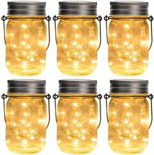 Hanging Solar Mason Jar Lid Lights, 6 Pack 30 Led String Fairy Lights, Paradise
