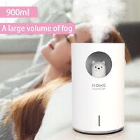 900ml LED Ultrasonic USB Air Humidifier Aroma Essential Table Oil Diffuser Bear