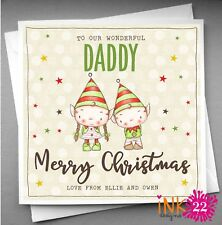 Personalised Christmas Card To Daddy Mummy from the Children,Kids Elf Elves Cute