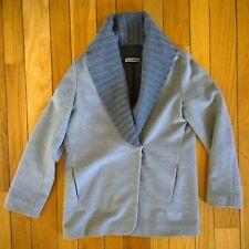 JIL SANDER Women Shawl Cardigan Wool Angora Cashmere Jacket Coat 42 10 Gray Grey
