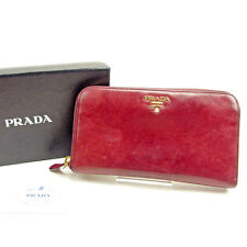 Prada Wallet Purse Long Wallet Red Woman Authentic Used Y6798