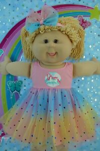 """Play n Wear Dolls Clothes For 16"""" Cabbage Patch  PINK RAINBOW DRESS~HEADBAND"""
