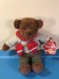 "HALLMARK Plush 13"" Teddy Bear Winter Scarf & Mittens 100th Anniversary 2002"