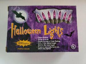 Indoor Outdoor 24 ft Halloween 100 Mini Light Purple String Light Set NEW