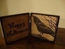 HAPPY HALLOWEEN new small wood crow sign sitter