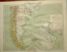 1923 MAP ~ CHILI SOUTH ARGENTINA FALKLAND ISLANDS BUENOS AIRES ENVIRONS
