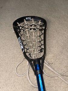 Vintage STX BLACK SAM Lacrosse Stick Complete W/ Blue AL6000 Shaft