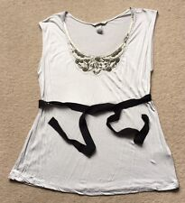 H&M Grey Beaded Vest T-shirt Top Medium