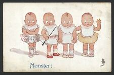 Monster! 4 Tiny Tots Meet A Little Mouse & Take Fright - 1923 Celesque Postcard