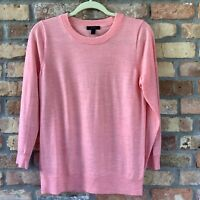 J.Crew E1277 Women's 100% Merino Wool Tippi Pullover Sweater Size M Dark Coral