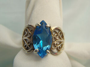 1.00 Carat Marquise Cut Deep Blue Topaz Ring Sterling Silver Size 5