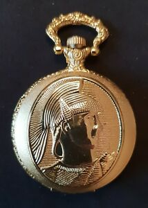 POCKET WATCH NO.6 GOLD COLOURED  HUNTER, ROMAN CENTURION DESIGN COLLECTABLE