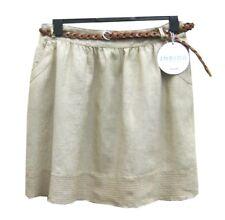 Marks & Spencer Beige Linen Skirt Size 16 with Belt & Elastic Waist