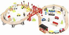 Wooden Train Set Toddler Boys Kids 70 Piece Railway Kit Tracks Car Bridge City