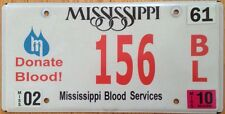 MS Donate Blood license plate low number #156 Donation Bank Transfusion Platelet