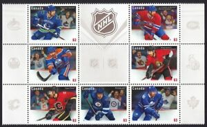 JERSEY = HOCKEY = CANADIAN NHL = Canada 2013 #2669a-g MNH BLOCK, EMBOSSED stamps