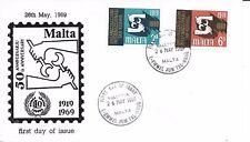 MALTA F.D.C. 26/5/1969 SG 416-7; 50 ANNIVERSARY OF I.L.O.