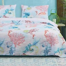 Coastal Quilt Set Twin Size Quilted Comforter Soft Lightweight Bedding Bed Cover