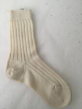 BNWT FEDELI, ITALY MEN'S LUXURY 100% CASHMERE LONG RIBBED SOCKS CREAM/WHITE