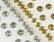 100 x ANTIQUE SILVER~OR~GOLD~ROUND / BICONE~TIBETAN STYLE~SPACER BEADS,5 x 3MM