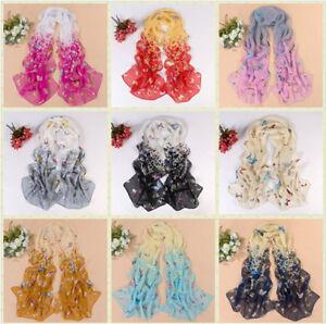 HOT Fashion Women's Lady Chiffon Butterfly Floral Scarf Soft Wrap Long Shawl Hot