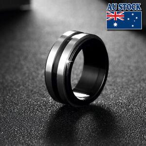 Titanium 316L Steel 10mm Black Anodized Band Ring