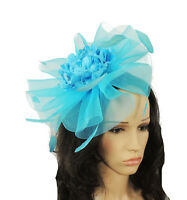 Turquoise Fascinator Hat For Weddings/Ascot/Proms With Headband Z2
