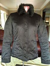 Zara Woman Puffer Jacket Sz S Small Faux Fur Removeable Collar Dark Brown
