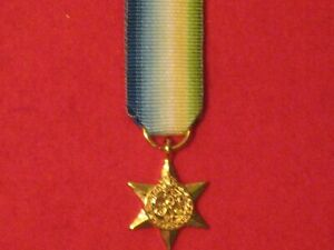 Miniature World War 2 Atlantic Star Medal with ribbon Mint Condition