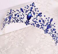Women Metallic Princess Blue Crystal Hair band Tiara Crown