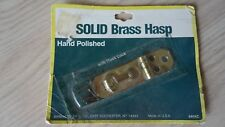 Vintage Solid Brass Small Hinged Hasp With Hook Lock Made In U.S.A. NOS