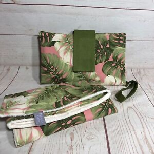 Nappy wallet diaper clutch and change mat set pink and green leaf multi pockets