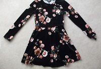 Topshop Black Velvet Floral Flippy Skater Dress - Sizes 8 10 and 12
