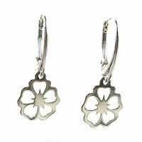 FASHIONS FOREVER® 925 Sterling Silver Hawaiin Flower Leverback Earrings
