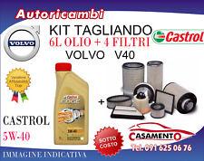 KIT TAGLIANDO VOLVO V40 2.0 D4 132KW DAL 3/2012 IN POI E 6L OLIO CASTROL 5W40