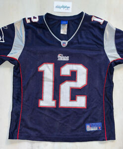 New England Patriots #12 Tom Brady NFL Reebok Blue Jersey Women's Large EUC