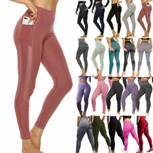 Womens High Waist Gym Leggings Pocket Fitness Sports Running Seamless Yoga Pants