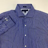 Tommy Hilfiger Dress Shirt Men's 15.5 Long Sleeve Blue White Striped Slim Fit